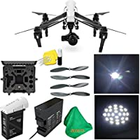 DJI Inspire 1 PRO Drone with Single Remote Controller & Lens + Deluxe Hard Case + 4pcs Carbon Fiber Propellers + ZEEKITS Microfiber Cloth + Lens Cleaning Kit for DJI + LED Headlight