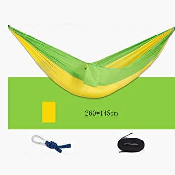 Medium image of hammock outdoor hammock dark yellow green parachute cloth hammock double man hammock swing hammock leisure