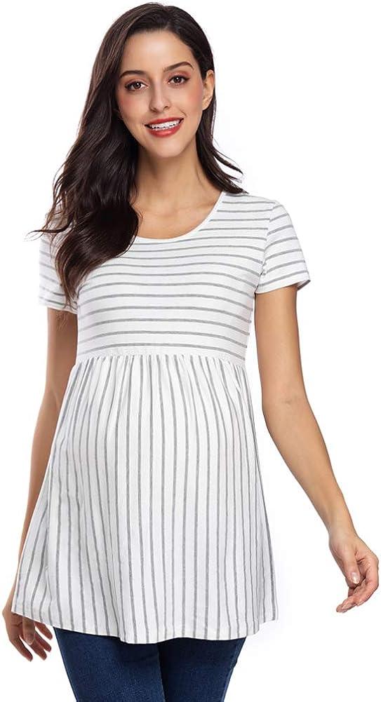 Caregabi Women S Maternity Tops Short Long Sleeve Shirt Round Neck Ruched Maternity Clothes At Amazon Women S Clothing Store
