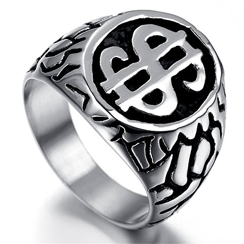 Kstyle Jewelry Mens Stainless Steel Ring, Vintage, Dollar Sign, KR2024 (Money Sign Ring)