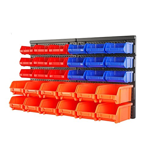 HORUSDY Wall Mounted Storage Bins Parts Rack 30 Bin Organizer Garage Plastic Shop Tool (30-Piece) - Small Parts Bin