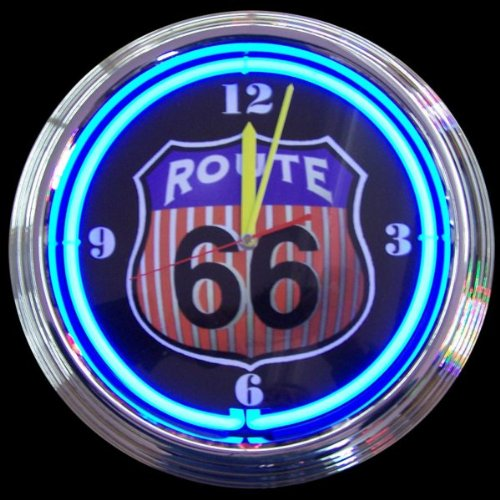 Neonetics Route 66 Neon Clock Chrome w/ Blue Neon