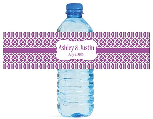 - 100 Purple Trellis Moroccan Background Wedding Water Bottle Labels Engagement Party 8