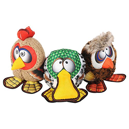 Image of Happy Tails Strong Mesh Fabric Owl, Rooster, Duck Barnyard Buddies Squeaker Chew Plush Dog Toy 3-Pack