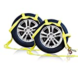 Tow Dolly Basket Strap with Twisted Snap Hooks for Small to Medium Size Tires By Robbor Brand 2 inch Webbing 12,000 lbs Breaking Strength Tire Bonnet&Tire Net Fits Most 14-17'' Tires