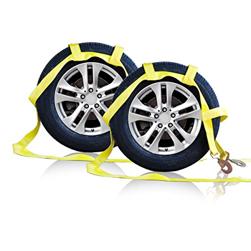 Tow Dolly Basket Strap with Twisted Snap Hooks for Small to Medium Size Tires By Robbor Brand 2 inch Webbing 12,000 lbs Breaking Strength Tire Bonnet&Tire Net Fits Most 14-17