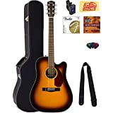 Fender CD-140SCE Dreadnought Acoustic-Electric Guitar - Sunburst Bundle with Hard Case, Tuner, Strap, Strings, Picks, Instructional DVD, Polishing Cloth