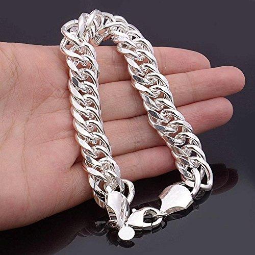 Chain Lobster Fashion Bracelet - wassana 925 Silver Men's Cool Bracelet Link Chain Fashion Jewelry Lobster Clasp 8.66