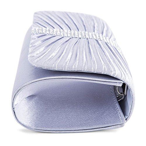 Cascading Fashion Purse Lifewish Womens Silver Pearl Rhinestone Faux Evening Bead Clutch 7ntnU8xSO
