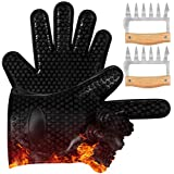 Silicone BBQ Grill Gloves,TyhoTech Thickened Insulation Heat Resistant Grilling Oven Cooking Gloves Mitts Set with Stainless Steel Meat Shredder, Superior Value for Cooking, Grilling, Baking, Barbecue
