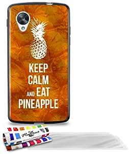 """Carcasa Flexible Ultra-Slim GOOGLE NEXUS 5 de exclusivo motivo [Keep Calm And Eat Pineapple] [Negra] de MUZZANO  + 3 Pelliculas de Pantalla """"UltraClear"""" + ESTILETE y PAÑO MUZZANO REGALADOS - La Protección Antigolpes ULTIMA, ELEGANTE Y DURADERA para su GOOGLE NEXUS 5"""