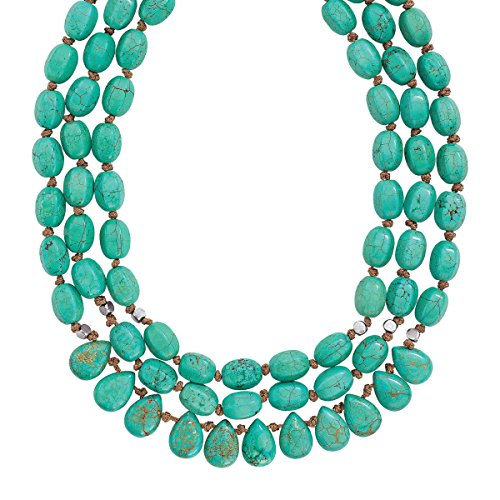 Silpada 'Drops of the Ocean' Natural Howlite Three-Strand Cord Necklace with Sterling Silver