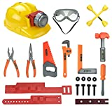 Little Handyman Kids Pretend Play Tools Playset | Construction Tool Belt with Light Up Hard Hat, Safety Goggles and Accessories | STEM Building Toys for 3, 4, 5, 6 Year Old Boys, Girls