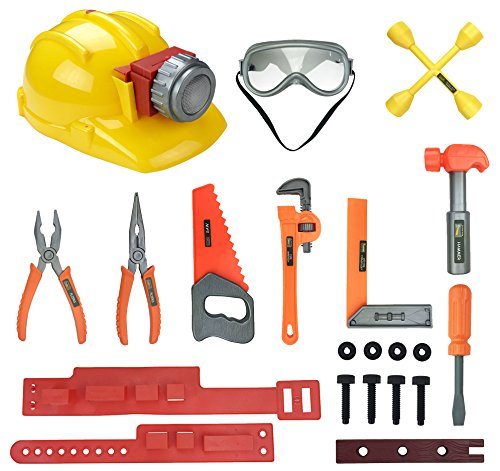 Little Handyman Kids Pretend Play Tools Playset - Construction Tool Belt with Light Up Hard Hat, Safety Goggles and Accessories - STEM Building Toys for 3, 4, 5, 6 Year Old Boys, Girls