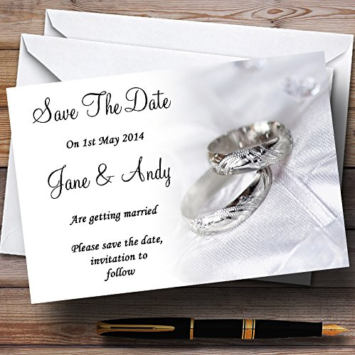 Date White Ring - Classy White And Silver Rings Personalized Wedding Save The Date Cards