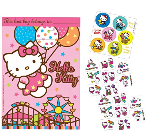 Hello Kitty Party Favor Goody Bags with Bonus Tattoos & Stickers! For 8 Guests!