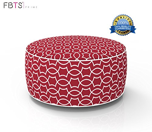 FBTS Prime Outdoor Inflatable Ottoman Red Round Patio Foot Stools and Ottomans Suitable for Kids and Adults Portable Travel Footstool Used for Outdoor Camping Home Yoga Foot Rest by FBTS Prime
