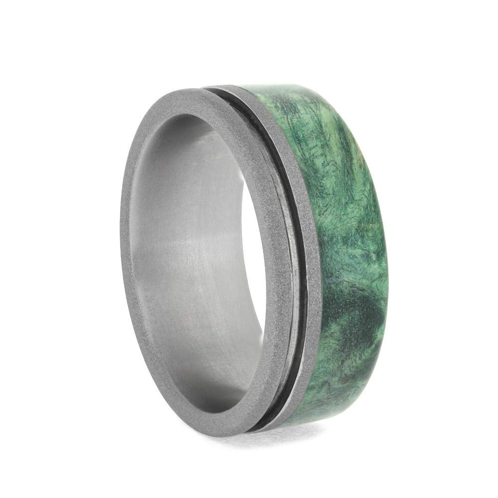 Jewelry By Johan Grooved Titanium Ring with Green Wood Edge Size 7