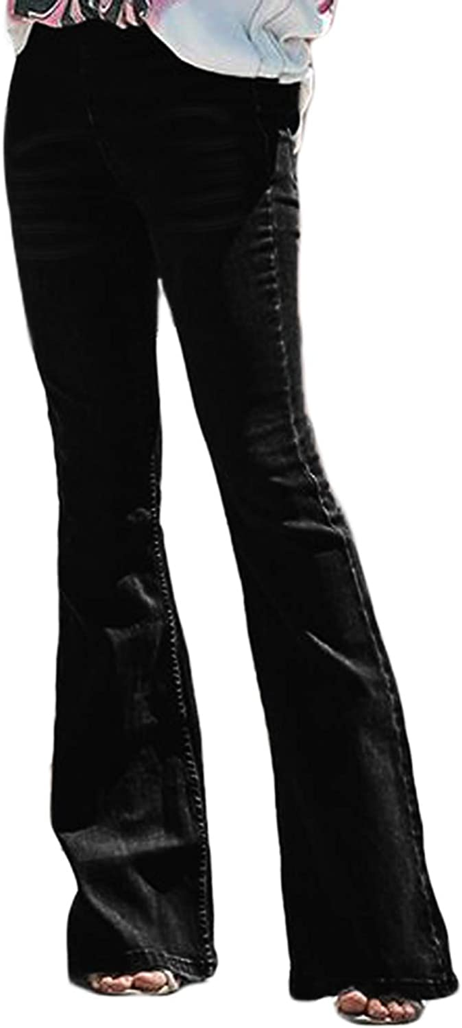 BISUAL Womens Fashion High Rise Jeans Slimming Wide Leg Stretch Denim Flare Bellbottom Jeans