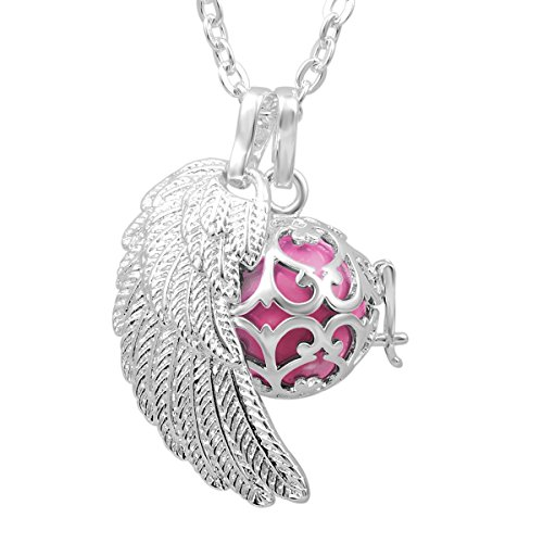 Chain Necklace 18mm Ball (EUDORA Harmony Bola Angel Wing Musical Chime Ball 16mm Pendant Necklace Pregnancy Gift & 30'' Chain Pink)