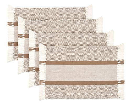 (Sticky Toffee Cotton Woven Placemat Set with Fringe, Traditional Diamond, 4 Pack Placemats, Tan, 14 in x 19 in)