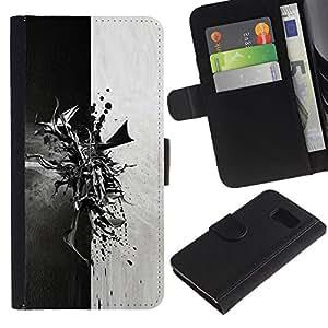 EuroCase - Samsung Galaxy S6 SM-G920 - Abstract Black & White - Cuero PU Delgado caso cubierta Shell Armor Funda Case Cover
