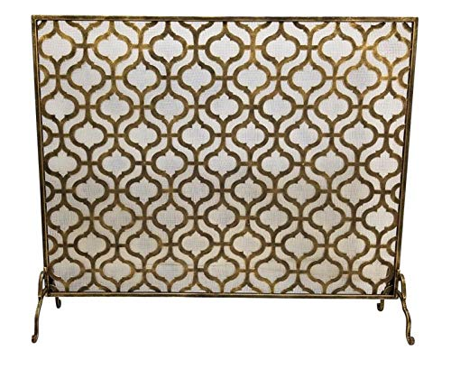 KensingtonRow Home Collection Fireplace Screens - Kings Cross Quatrefoil Fireplace Screen with MESH Back - Large - Light Burnished Gold Finish