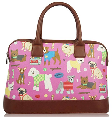 Kukubird Mixed Dog Print Matte Canvas Satchel Bowling Bag With Kukubird Dust Bag - Pink (Pink Ladies Bowling Bag)