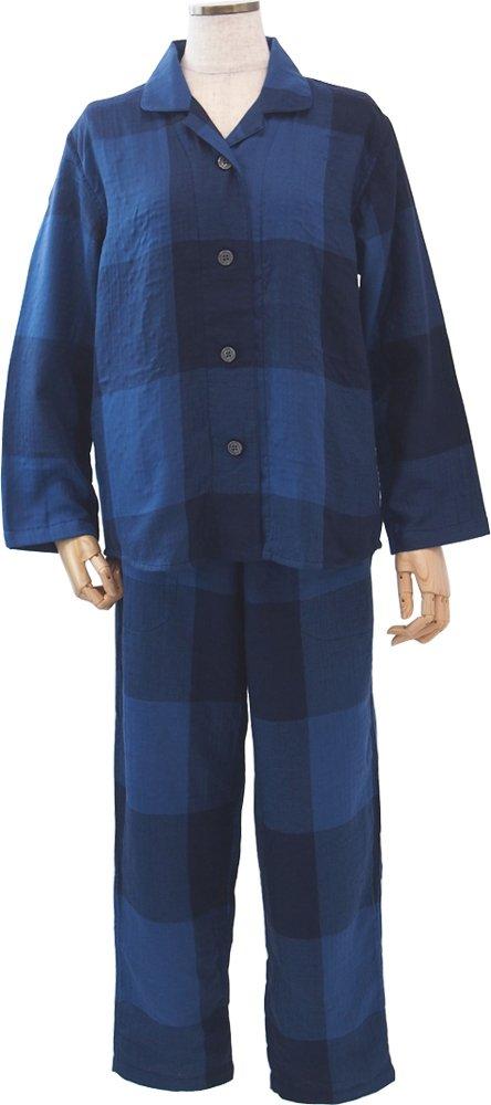 UCHINO マシュマロガーゼ ブロックチェック レディスパジャマ (L) ダークブルー RPS18078 L DB B01N9XH8V1 L|ブルー ブルー L