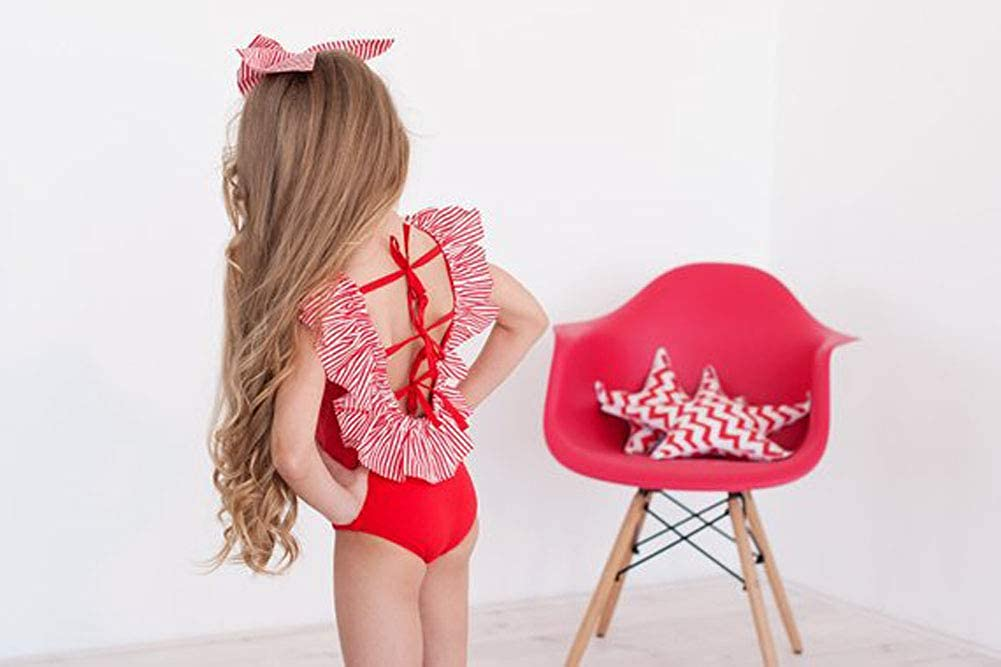Baby Girls Strap Swimwear One Piece Ruffle Bikini Bathing Suit