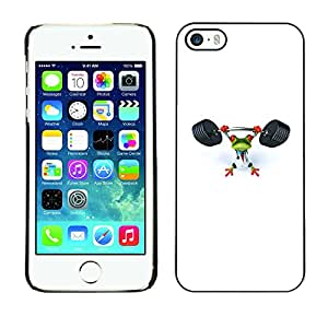 Paccase / SLIM PC / Aliminium Casa Carcasa Funda Case Cover para - Gym Sports Frog White Weight Lifting - Apple Iphone 5 / 5S