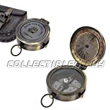 Collectibles Buy Nautical Marine Brass Made for Royal Navy Pocket Compass With Grey Leather Box Antique Gift