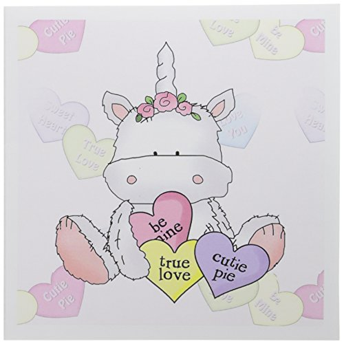 3dRose Cute Valentine Unicorn with Candy Hearts and Conversation Hearts Background Greeting Cards, 6 x 6 Inches, Set of 6 (gc_102488_1) (Conversation Personalized Hearts)