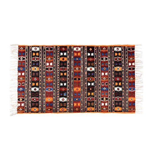 Homescapes 100% Cotton Kilim Printed Rug Terracotta Black