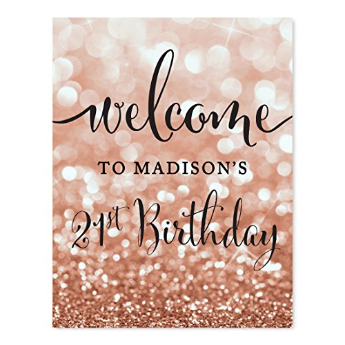Andaz Press Personalized Birthday Party Signs, Glitzy Rose Gold Glitter, 8.5x11-inch, Welcome to Madison's 21st Birthday, 1-Pack, Bokeh Colored Party Supplies, Custom Name ()
