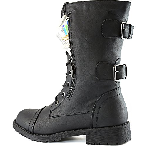 Womens Daily Shoes Women's Military Combat Lace up Mid Calf High Credit Card Knife Money Wallet Pocket Boots Us Sale Size 39