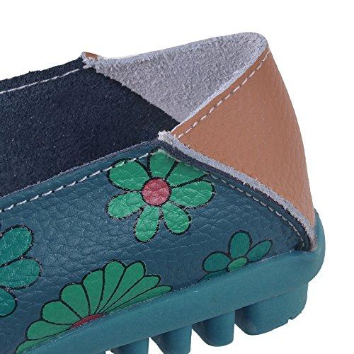 Hee Grand femme Imprimé Fleur colorée à enfiler chaussettes-Pompes Bleu Foncé D9yVh4Hq