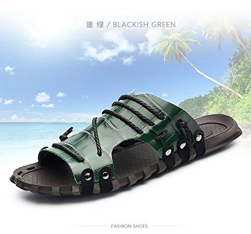 Summer sandali di modello di estate uomini sandali di grandi dimensioni sandali di lusso calzature della pelle bovina scarpe antiscivolo, verde, UK = 6.5, EU = 40