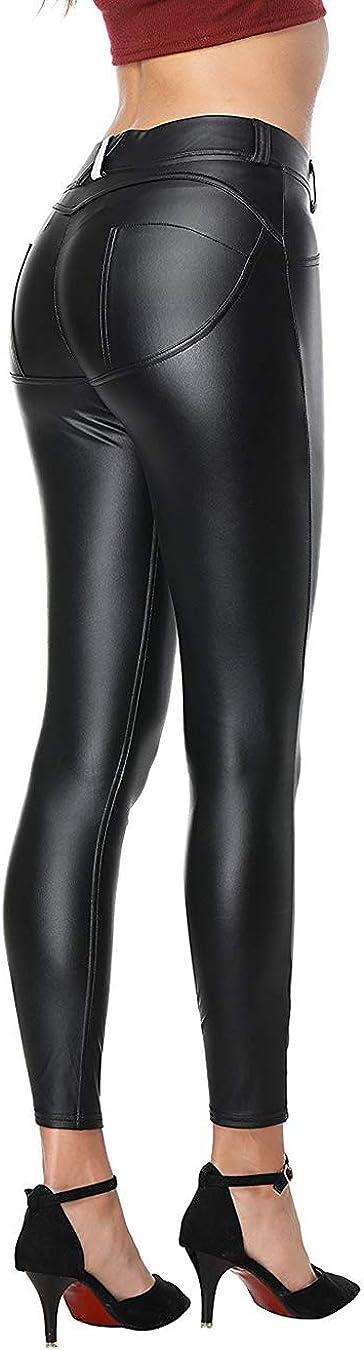 Dreamsbox Mujeres PU Leggins Cuero Pantalón, Cintura Alta Skinny Elásticos pantalones,Slim Fit,Sexy-Negro