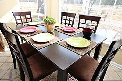 7 pc Espresso Brown 6 Person Table and Chairs Brown Dining Dinette - Espresso Brown and Beige Chair Waffle Back