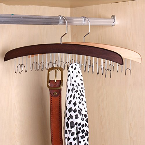 Drying clothes rack Solid wood belt rack/harness hanger/multi-function hanger/scarf, towel shelves/hanging bag (Color : Brown, Style : Quantity: 2) by Drying clothes rack (Image #2)