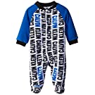 Calvin Klein Baby Boys' Print Microfleece Sleeper with Blue Sleeves, Multi, 3-6 Months