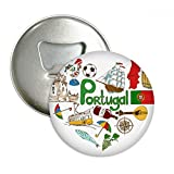Portugal Love Heart Landscap National Flag Round Bottle Opener Refrigerator Magnet Pins Badge Button Gift 3pcs