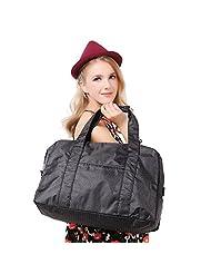 Artone Women's Water Resistant Nylon Tote Weekend Shoulder Gym Travelling Dots Bag Black