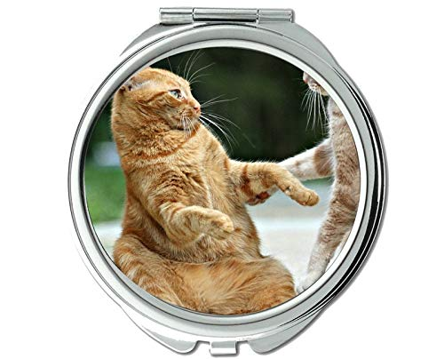 Compact Mirror Round Compact Mirror Double-sided,Animal cat mirror for Men/Women,1 X 2X Magnifying ()