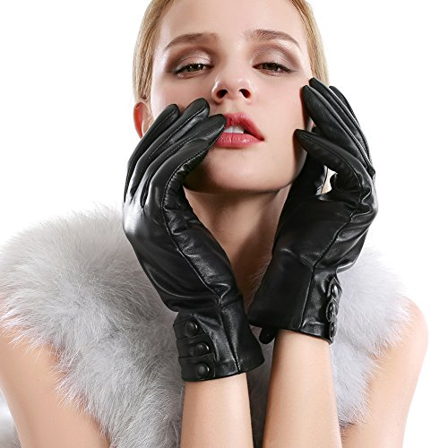 Women Leather Gloves Touchscreen Texting Evening Real Lambskin Warm Driving Cashmere Lining Gloves