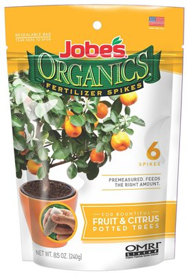 Jobe's Organics Fruit & Citrus Tree Fertilizer Spikes, 3-5-5 Time Release Fertilizer for all Container or Indoor Fruit Trees, 6 Spikes per Package ()