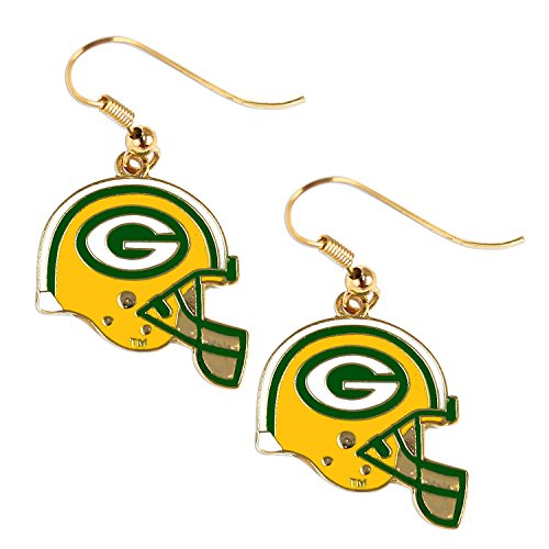 Sports Team Green Bay Packers J Hook Dangle Logo Earring ,Multicolor