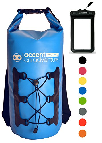 Premium Waterproof Dry Bag Compression Sack, Roll TopClosure 2 Detachable Shoulder Straps for Kayaking, Beach, Rafting, Boating, Hiking, Camping and Fishing with Waterproof Phone Case (Light Blue)