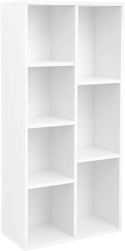 VASAGLE Librería con 7 Compartimentos, Estantería de 7 Cubos Abiertos, para Salón, Estudio, Oficina, 50 × 24 × 106 cm (Largo x Ancho x Alto), Blanco ...